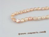 nls02 5strands 8*10mm long_dirlled nugget pearls nature pink