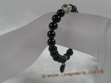 pb025 Black agate power beads Healing Elastic  Bracelet