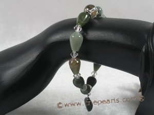 pb033 8*12mm tear-drop india agate & crystal Elastic Power bracelet