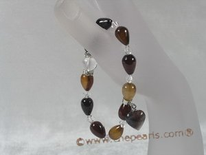 pb035 8*12mm tear-drop agate& crystal Elastic Power bracelet