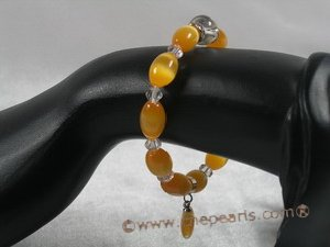 pb037 8*12mm oval yellow cat eyes& crystal Elastic Power bracelet for wholesale