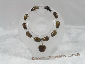 pb039 Stunning 8*12mm rain-drop Tiger&#39s Eye Elastic Power bracelet