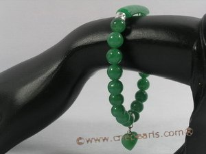 pb040 8mm round chinese jade Elastic Power bracelet for wholesale