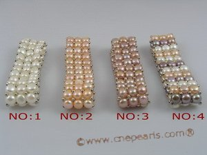 pbr024 hand knitted Three-Strands cultured Freshwater Pearl stretch bracelet,