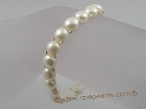 pbr027 hand knitted one rows cultured Freshwater Pearl stretch bracelet wholesale