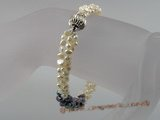 pbr028 three strands smooth-on-both-side pearl twisted bracelet