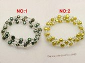 pbr032 6-7mm olive green smooth on both side cultured pearls bracelets