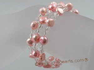 pbr034 6-7mm pink smooth on both side cultured pearls bracelets