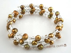 pbr035 6-7mm coffee  on both side cultured pearls bracelets