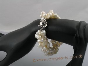 pbr042 white bilster pearl mix side dirlled pearl tiwsted bracelets