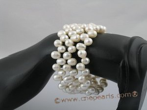 pbr049 6-7mm white side-drilled pearl bracelets