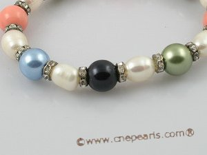 pbr058 7-8mm white rice shape pearl stretchly bracelet with shell pearl beads