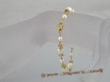 pbr061 White rice pearl with crystal spacers bracelet in wholesale