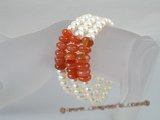 pbr063 Triple strands potato pearl bracelet with red agate beads