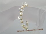 pbr064 wholesale 7-8mm white nugget pearl with crystals bracelet
