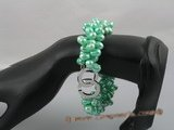 pbr065 Triple strands 6-7mm green side-drilled pearl bracelet in wholesale