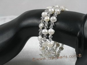 pbr113 6-7mm white smooth on both side cultured pearls bracelets