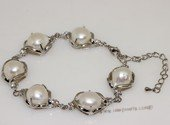 pbr114 10*12mm white baroque pearl bracelet