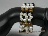 pbr138  side-dirlled pearl and gemstone beads bangle beach bracelet