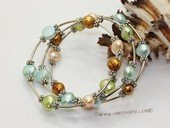 pbr143 9-10mm multi colour double shiny pearl bracelets wholesale
