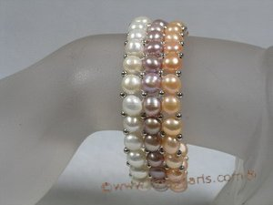pbr147 hand knitted Three-Strands multi-color stretch pearl bracelet