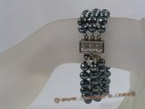 pbr151 Triple Strand black potato pearl bracelet in wholesale