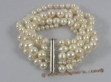 pbr153 Five Strands white cultured pearl bracelet in wholesale