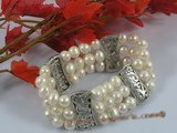 pbr155 Triple Strands white potato pearl bracelet in wholesale