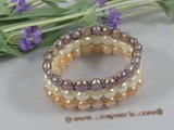 pbr157 handmade Three-Strands multi-color stretch pearl bracelet