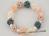 pbr161 Multicolor cultured pearl ball design stretchly bracelet in factory price