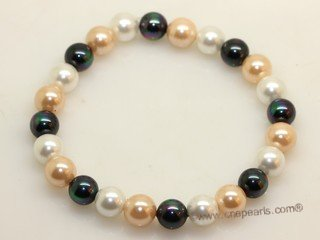 pbr167 Elegance black and pink and white south sea shell pearl flexible bracelet