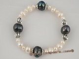 pbr168 Elegance black and white cultured pearl Stretch bracelet with scrollwork beads