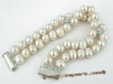 pbr193 Two rows White freshwater potato pearl Bracelet on sale