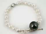 pbr196 White rice shape cultured freshwater pearl bracelet wholesale