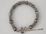 pbr199 Antique 8-9mm black cultured potato pearls bracelet in wholesale