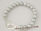 pbr204 8-9mm grey cultured potato pearl bracelet in wholesale