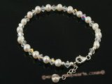 pbr206 5-6mm white potato pearl and Austria crystal bracelet in white
