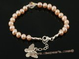 pbr207 pink potato pearl and Austria crystal Adjustable Bracelet with butterfly charm