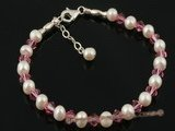 pbr208 5-6mm white potato seed pearl and red Austria crystal bracelet on sale