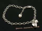 pbr212 Sterling silver Designer Style  Pearl adjustable bracelet in wholesale