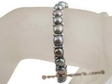 pbr221 wholesale single row elastic black bread Pearl bracelet with silver plated beads