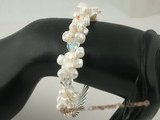 pbr222 Luxury white keshi pearl stretchy bracelets with sterling pipe