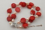 pbr234 wholesale Double strands red coral and pearlbracelet