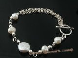 pbr236  sterling silver 12-13mm white coin pearl bracelet in wholesale