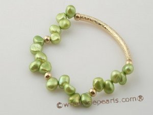 pbr238 wholesale 7-8mm green nugget pear and gold plated pipe elastic bracelet