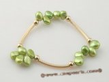 Fashion Gold plated 7-8mm nugget pear elastic bracelet in green color