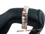 pbr244 Double strands mixcolor bread Pearl stretch bracelet in wholesale