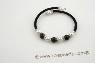 pbr248 Fashion potato pearl and black agate Black rubber cord bracelet