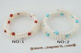 pbr260 White button pearl, blue turquoise/coral flexible bangle bracelet