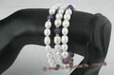 pbr261 White rice pearl, amethyst olympic bangle lariat for Valentines